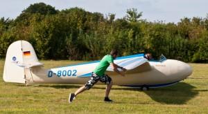 Start eines Segelflugzeugs in Wanlo