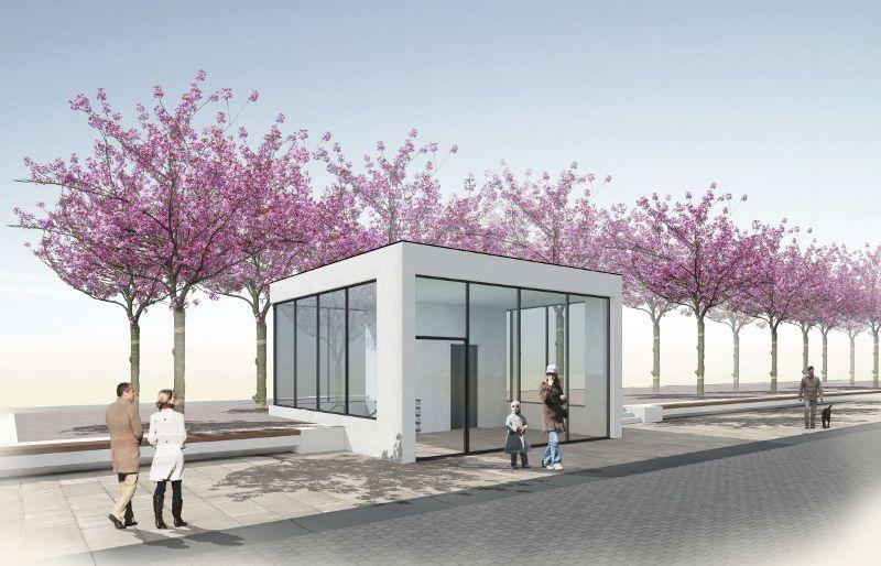 glaspavillons auf dem rheydter marktplatz sind zur er ffnung der tiefgarage anfang dezember. Black Bedroom Furniture Sets. Home Design Ideas
