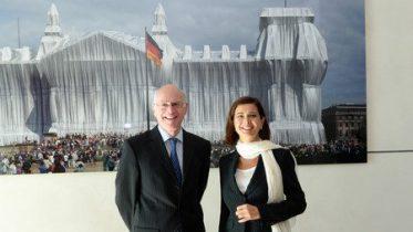 Name von links: Lammert, Norbert; Boldrini, Laura, Reichstagsgebäude, 2.OG, Präsidialebene; Fotograf: Achim Melde